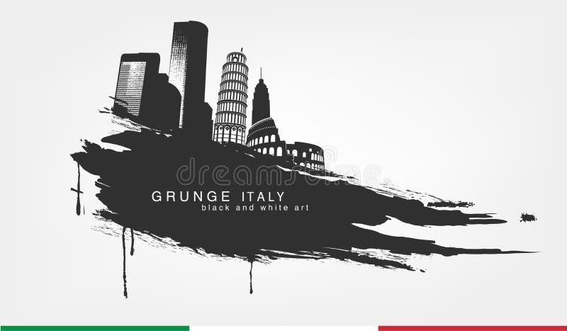 Acuarelas del punto negro Grunge aislado extracto de la textura con la ciudad de Italia ilustración del vector