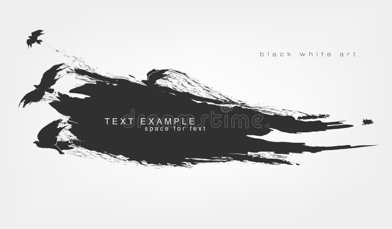 Acuarelas del punto negro Grunge aislado extracto de la textura con volar de los pájaros stock de ilustración