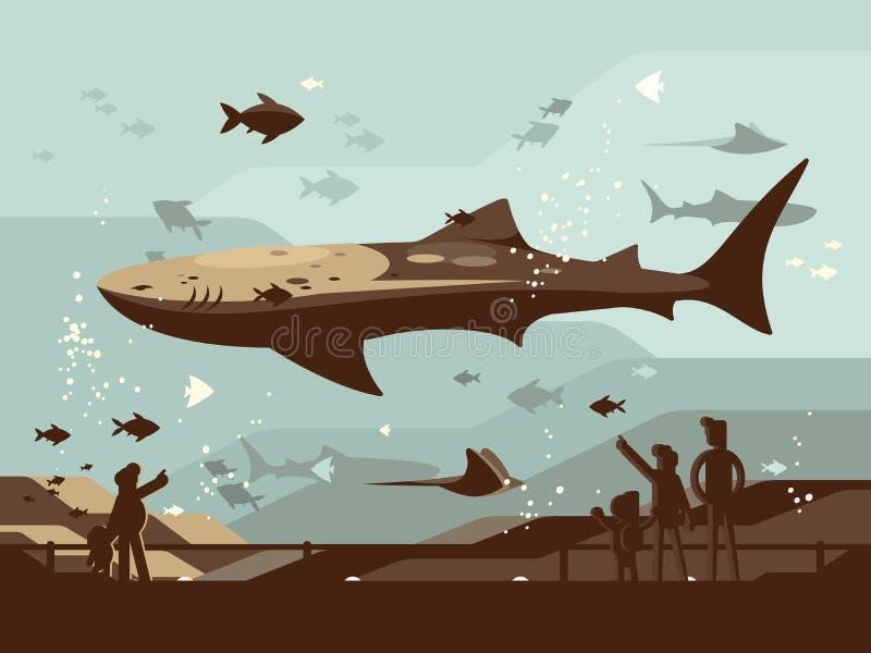 Acuario con los peces marinos grandes libre illustration