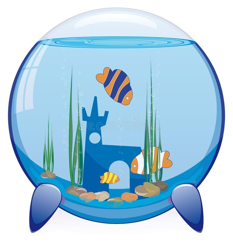 Acuario con los pescados tropicales ilustración del vector