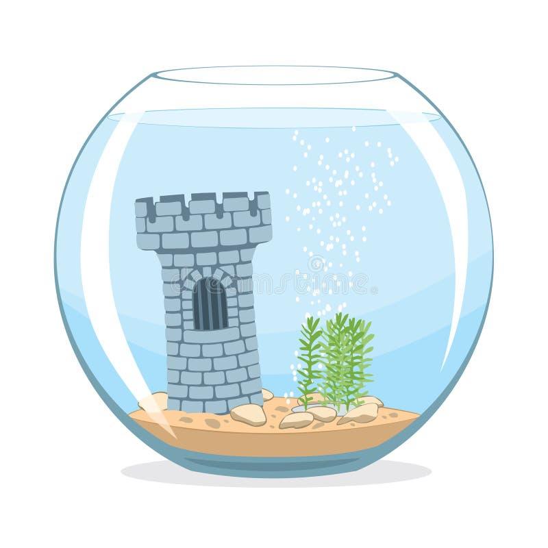 Acuario de Fishbowl con el castillo stock de ilustración