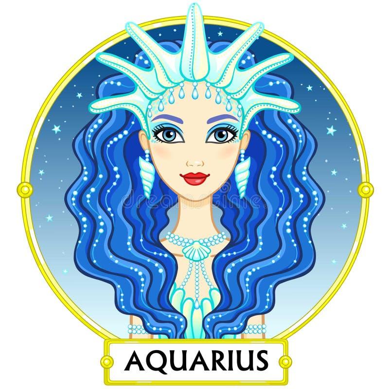 Acuario de la muestra del zodiaco ilustración del vector