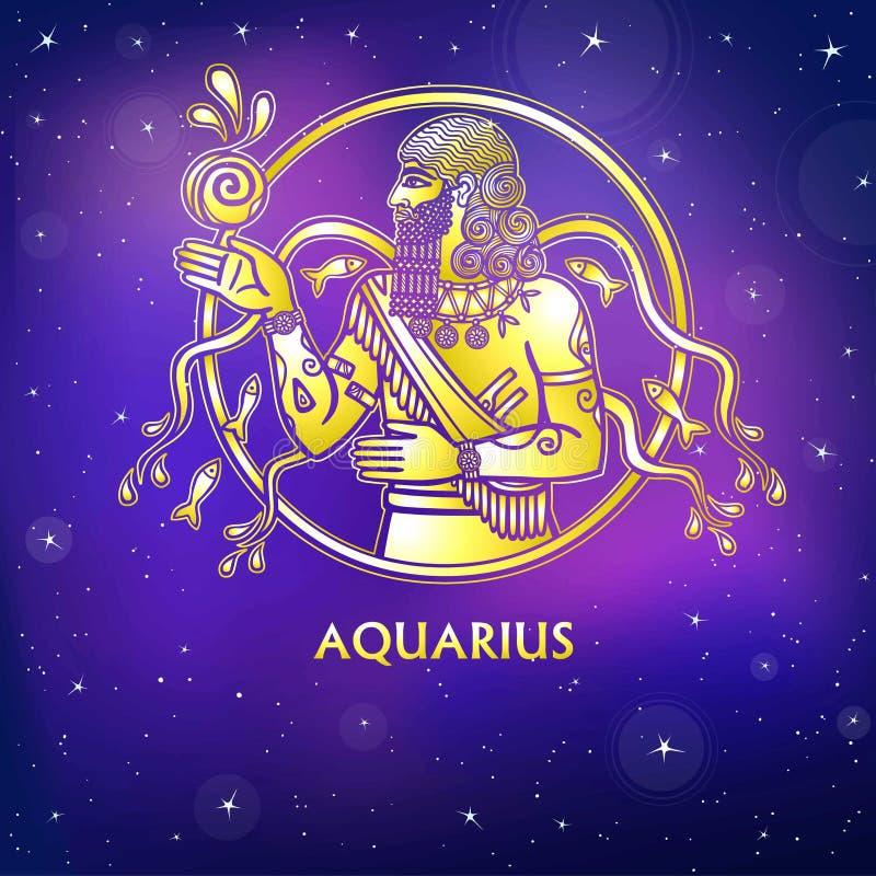 Acuario de la muestra del zodiaco Carácter de la mitología sumeria Imitación del oro ilustración del vector