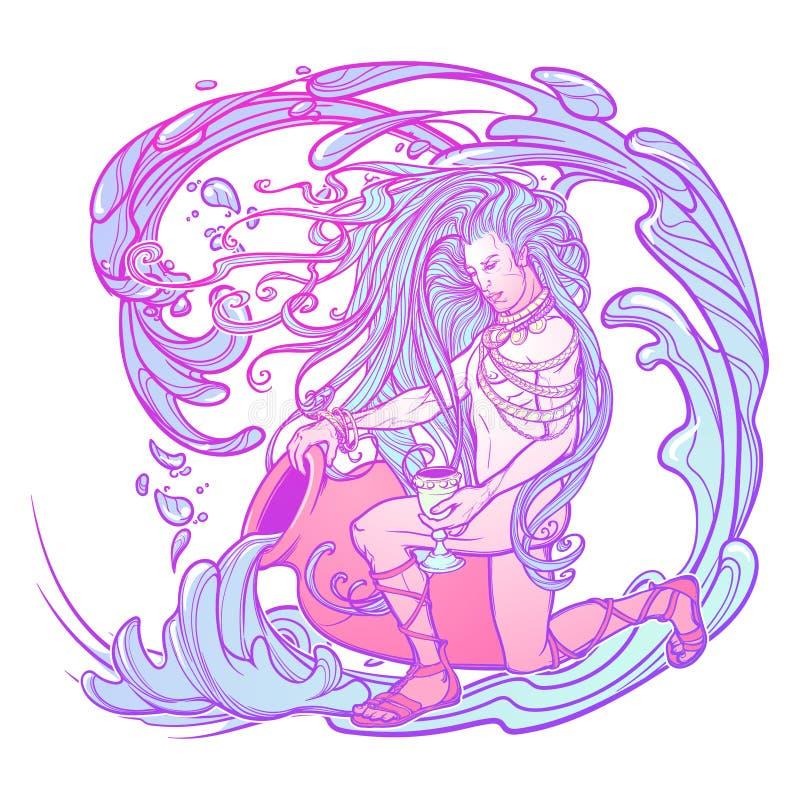 Acuario de la muestra del zodiaco Hombre joven hermoso con el pelo largo que sostiene la ánfora grande Paleta en colores pastel d ilustración del vector