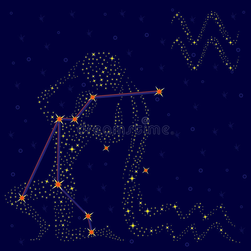 Acuario de la muestra del zodiaco sobre el cielo estrellado libre illustration
