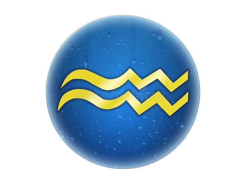 Acuario - muestra de oro del zodiaco imagen de archivo libre de regalías