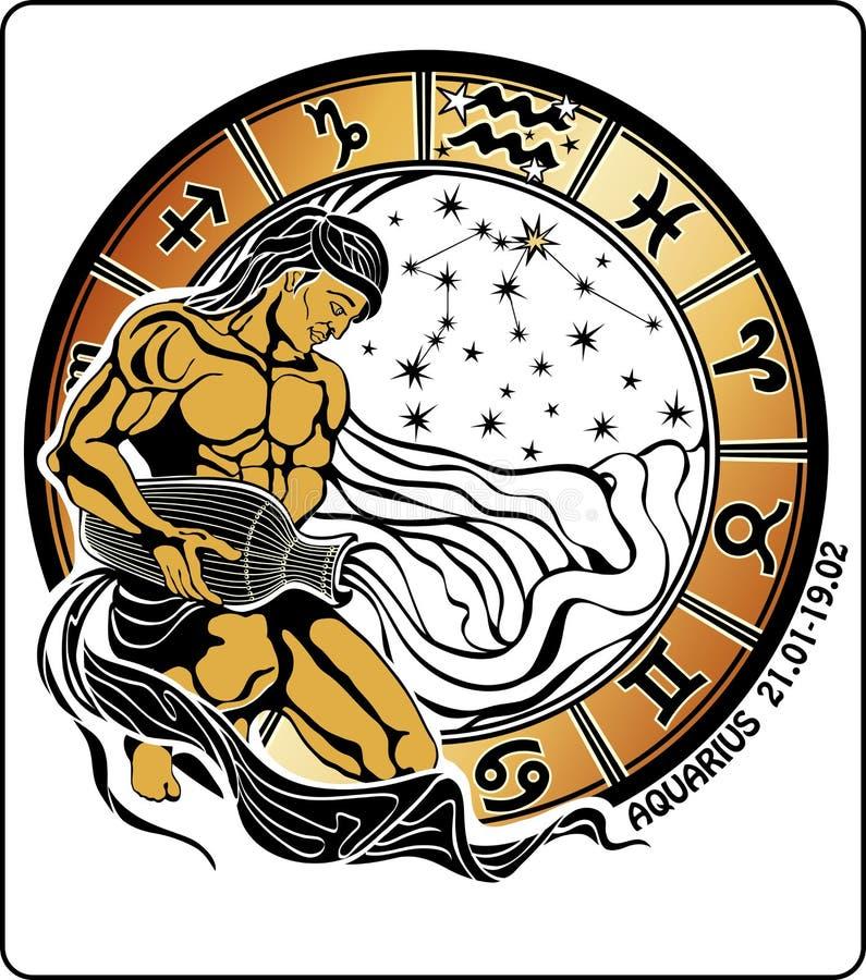 Acuario y la muestra del zodiaco. Círculo del horóscopo ilustración del vector