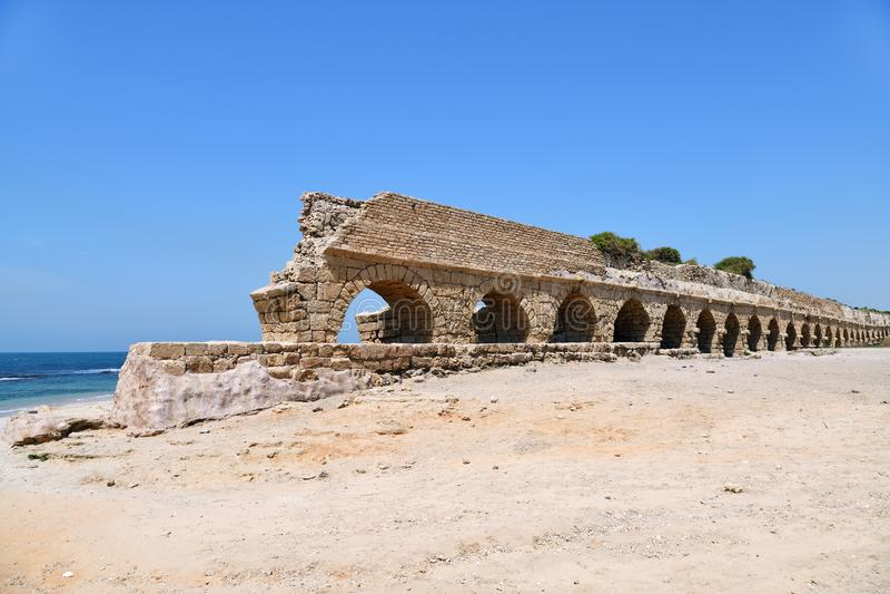 Acueductos romanos Caesarea Maritima Israel fotos de archivo libres de regalías
