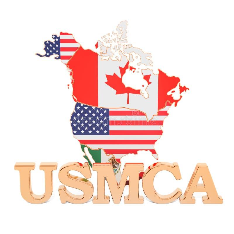 Acuerdo de Estados Unidos México Canadá, concepto de USMCA renderi 3D ilustración del vector
