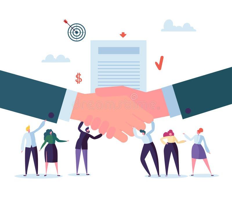 Acuerdo del negocio del apretón de manos Caracteres planos de la gente que firman el contrato Sociedad acertada, concepto de la c libre illustration
