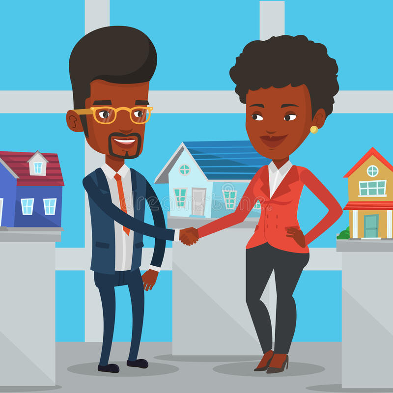Acuerdo entre el agente inmobiliario y el comprador stock de ilustración