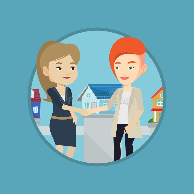 Acuerdo entre el agente inmobiliario y el comprador libre illustration