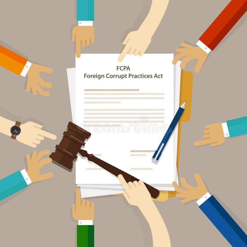 Acuerdo judicial del conflicto de intereses de la aplicación de las prácticas corruptas de FCPA del acto de la ley del crimen de  stock de ilustración