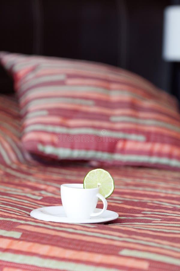 Acueste con dos almohadillas y una taza de té fotos de archivo