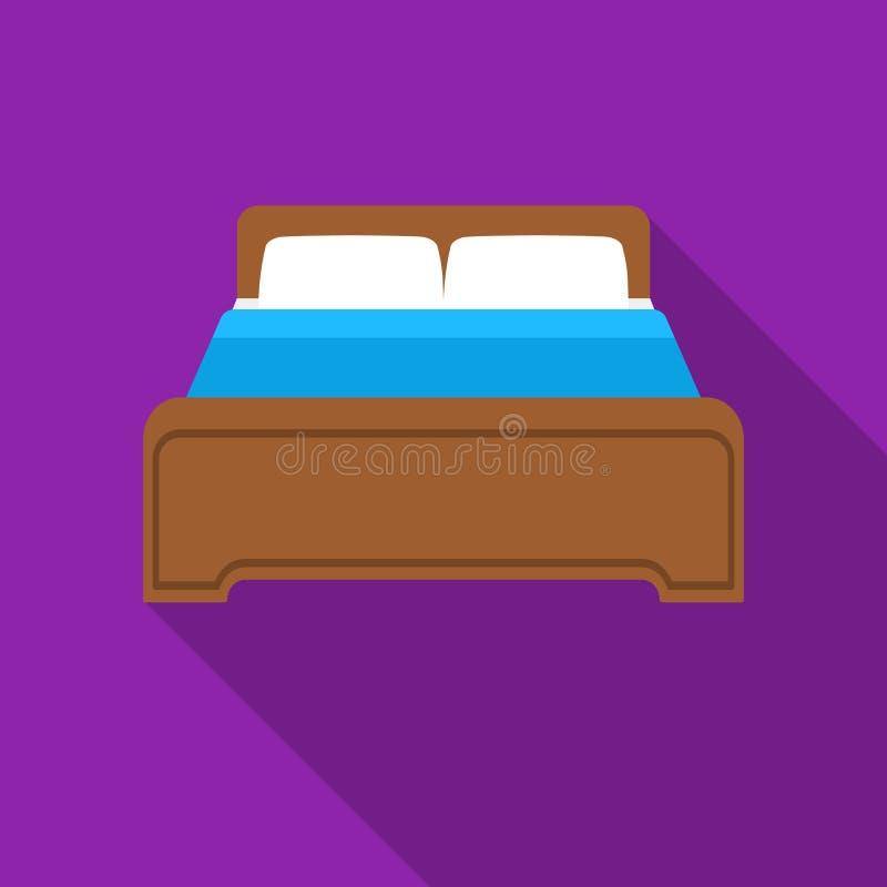 Acueste el icono en estilo plano aislado en el fondo blanco Ejemplo del vector de la acción del símbolo del hotel libre illustration