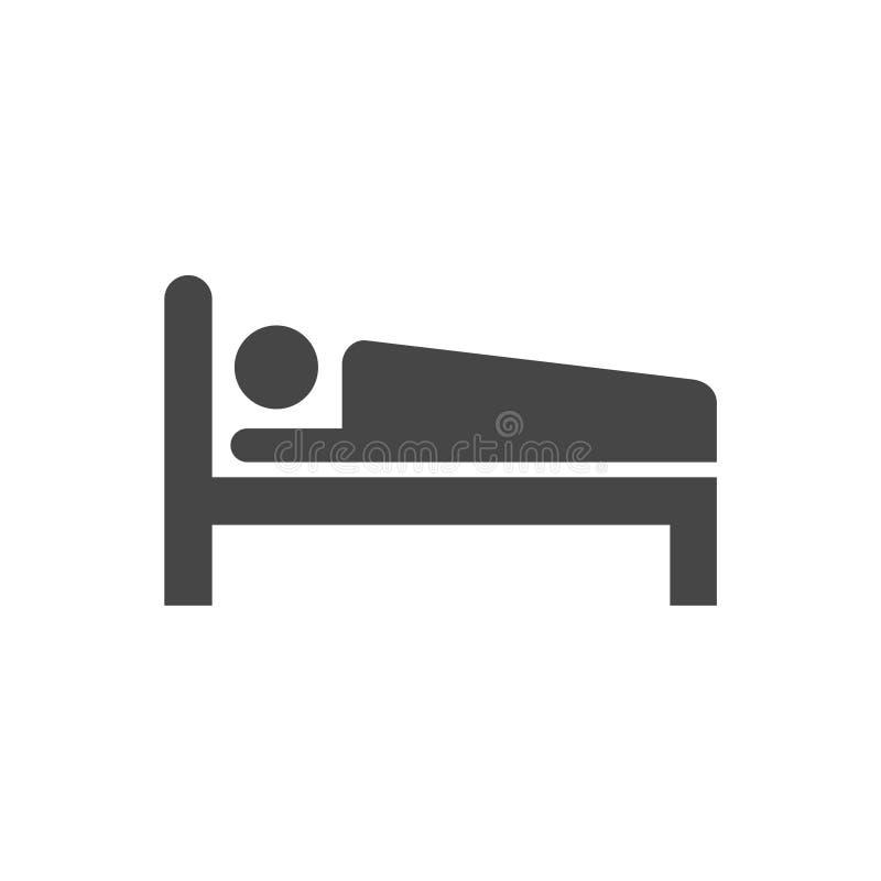 Acueste el icono, icono negro de la cama del vector, icono simple del vector stock de ilustración
