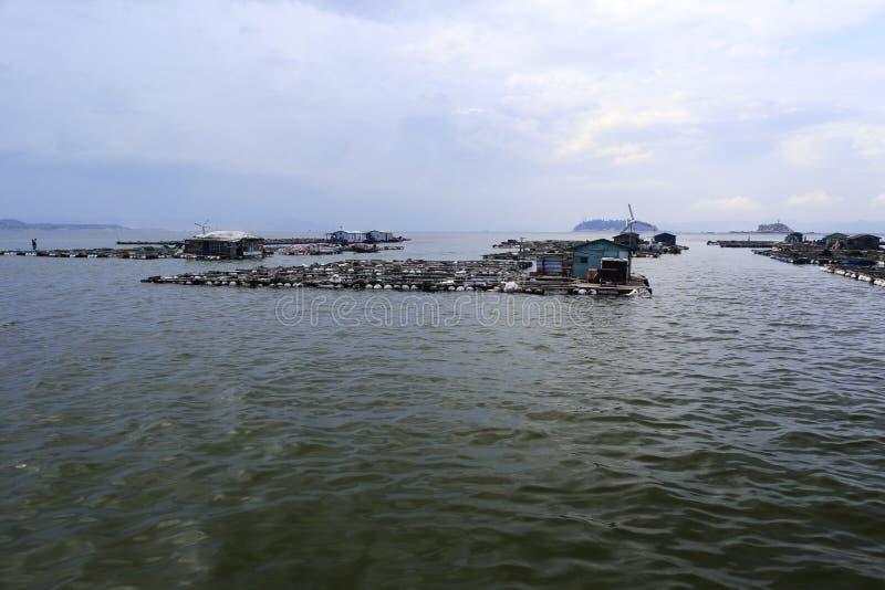 Acuicultura en el mar imagenes de archivo
