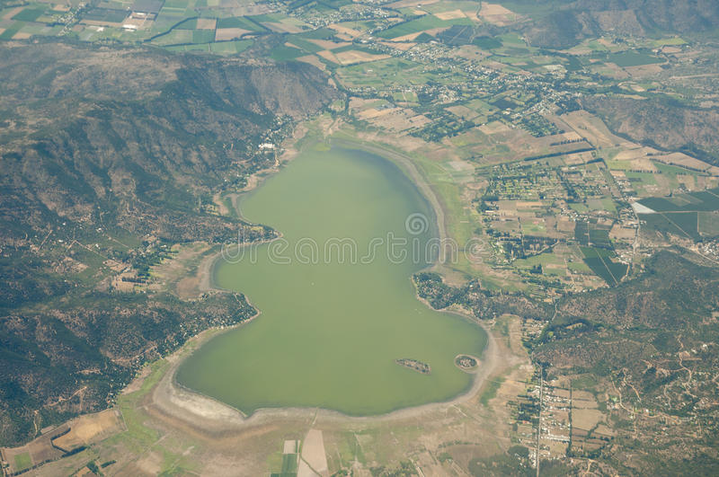 Aculeo Lagoon - Chile. Aerial View of Aculeo Lagoon - Chile stock photography