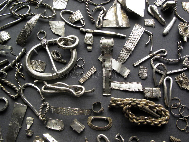 Acumulación del tesoro de Vikingo imágenes de archivo libres de regalías