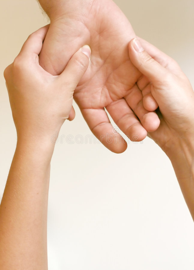 Acupressure - Hand royalty free stock photography