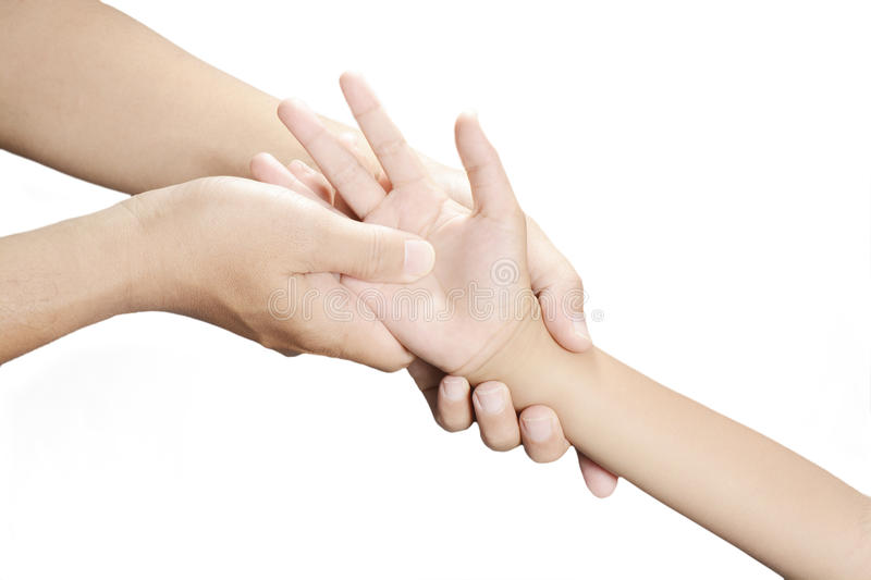 Acupressure hand royalty free stock photography