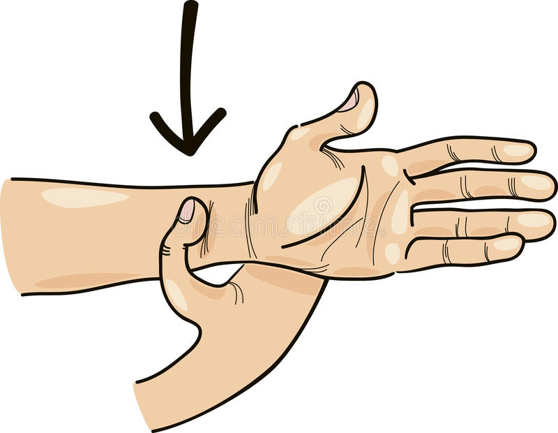 Acupressure point on hand stock illustration