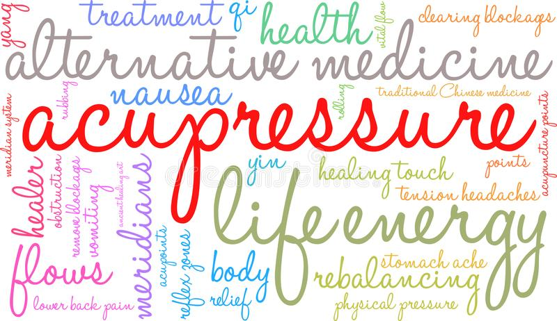 Acupressure Word Cloud. On a white background stock illustration
