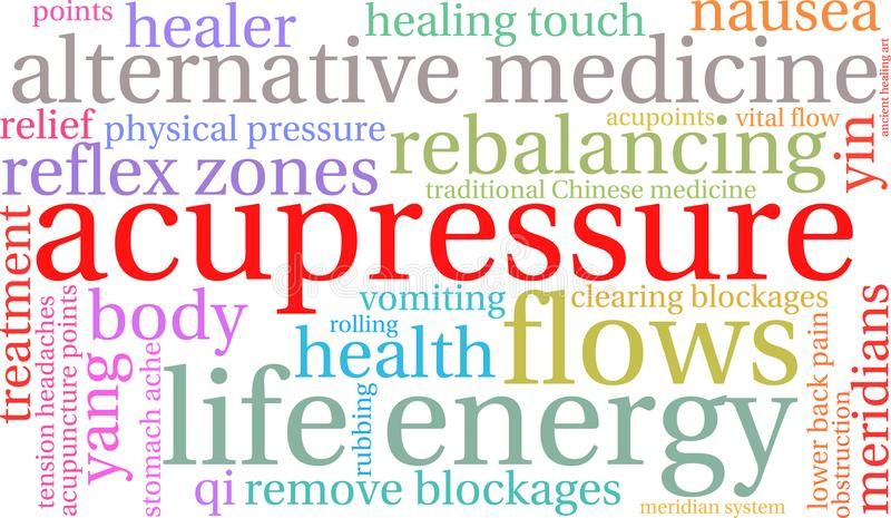 Acupressure Word Cloud. On a white background royalty free illustration