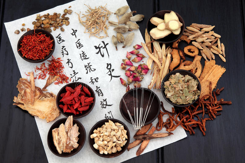 Acupuncture Alternative Medicine. Chinese herbal medicine selection with acupuncture needles and calligraphy script on rice paper royalty free stock images