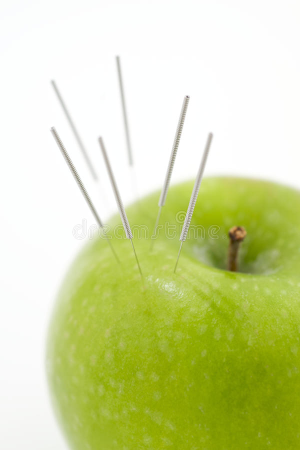 Download Acupuncture Needles In Apple Stock Photo - Image: 11550890