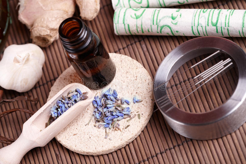 Download Acupuncture Needles, Moxa Sticks And TCM Herbs Stock Photo - Image: 22704438