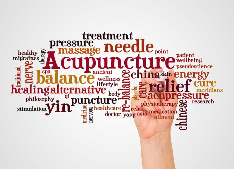 Acupuncture word cloud and hand with marker concept. On white background stock photos