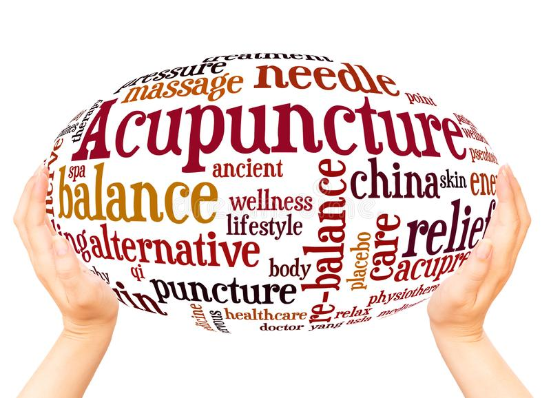 Acupuncture word cloud hand sphere concept. On white background royalty free stock photography