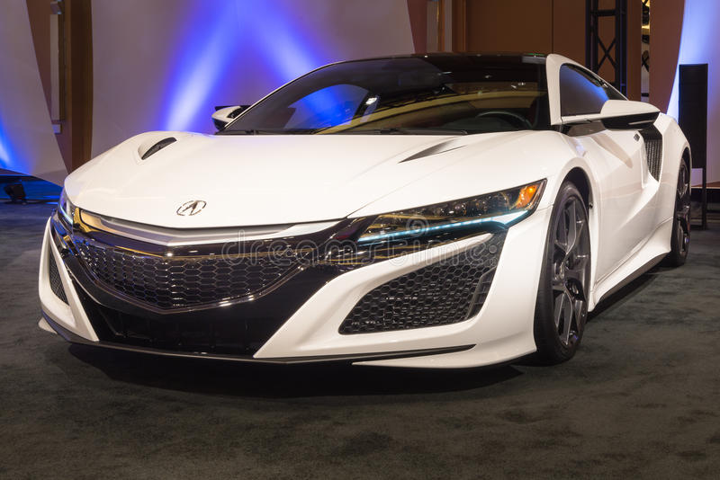 2016 Acura NSX. DETROIT, MI/USA - JANUARY 10, 2016: A 2016 Acura NSX at The Gallery, an event sponsored by the North American International Auto Show (NAIAS) and royalty free stock photo