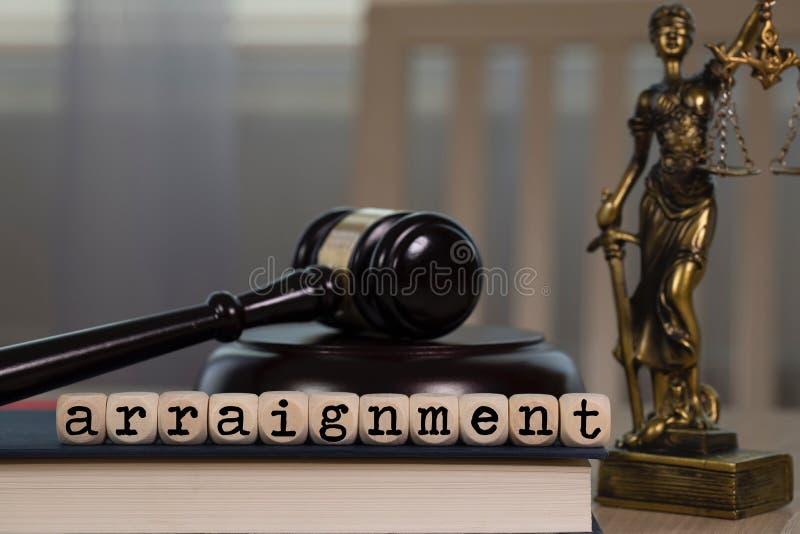 A ACUSAÇÃO FORMAL da palavra composta de madeira corta Martelo e estátua de madeira de Themis no fundo foto de stock royalty free