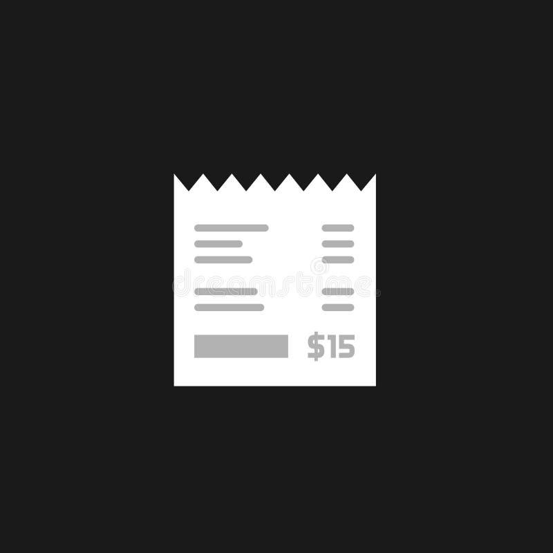 Acuse recibo del icono aislado, ejemplo plano de la factura, cheque de papel del vector de la cuenta ilustración del vector