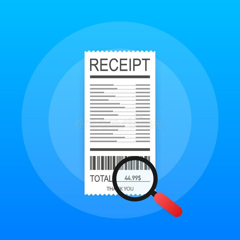 Acuse recibo del icono en un estilo plano aislado en un fondo coloreado Muestra de la factura ilustración del vector
