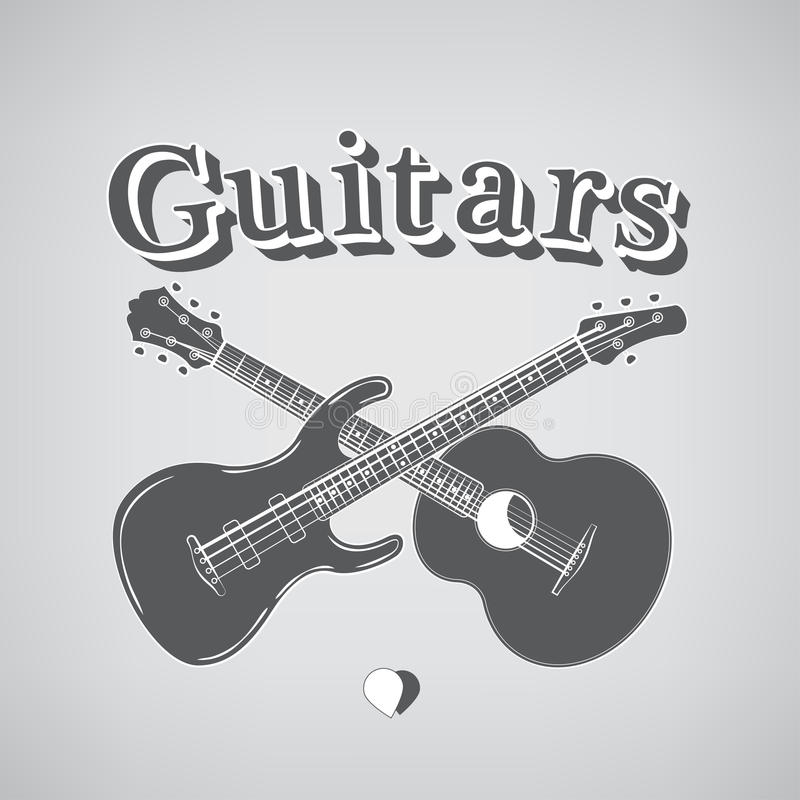 Acustico e Bass Guitars illustrazione di stock