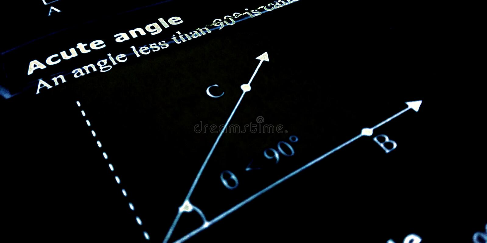 Acute angle presentation on black background with diagram stock image