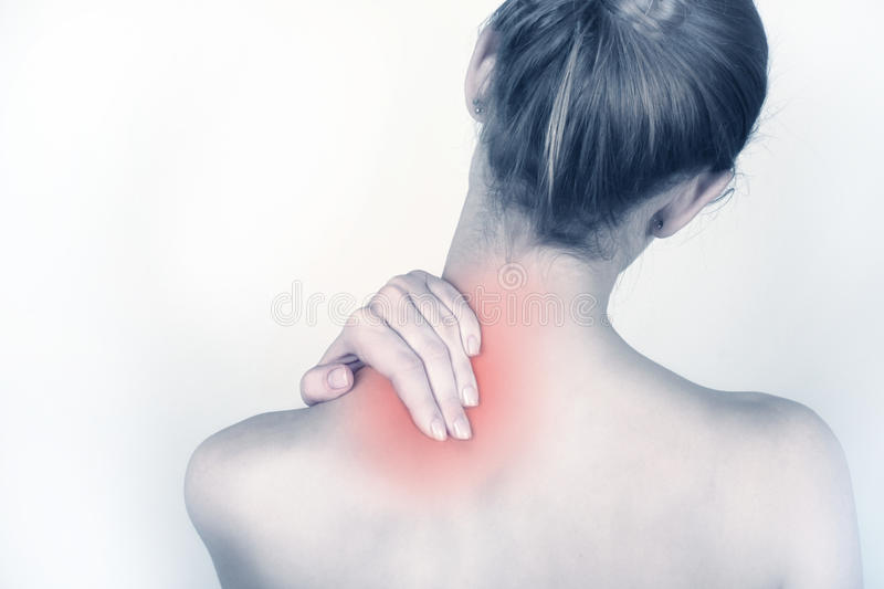 Acute neck pain stock image