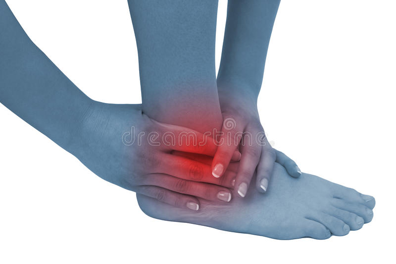 Acute pain in a woman ankle stock images