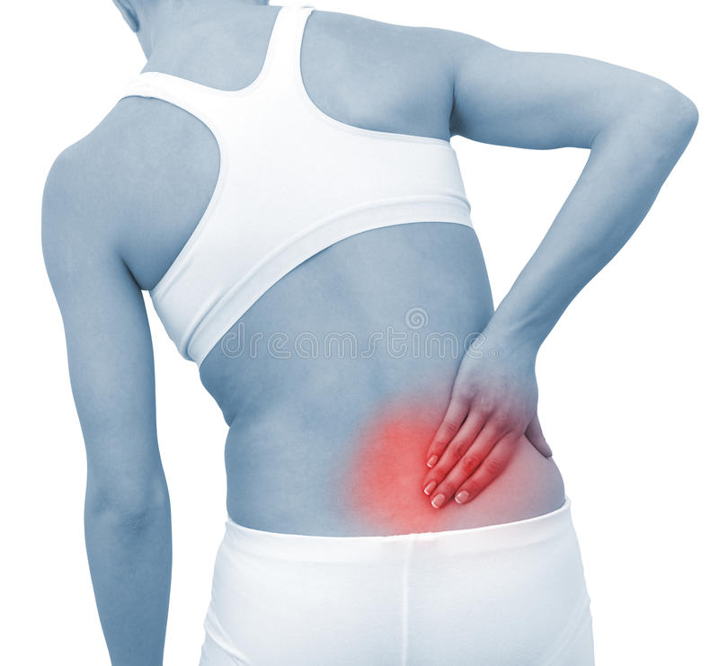 Acute pain in a woman back royalty free stock image