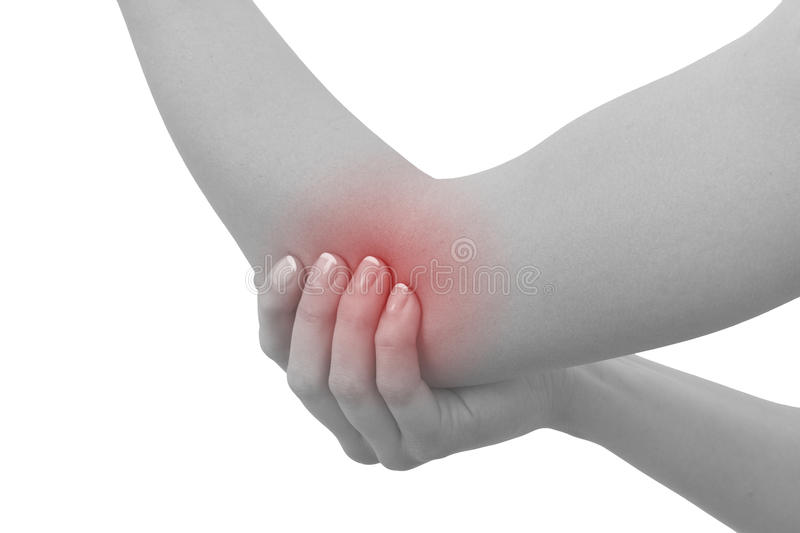 Acute pain in a woman elbow. Female holding hand to spot of elbow pain..Concept photo with Color Enhanced blue skin with read royalty free stock photography