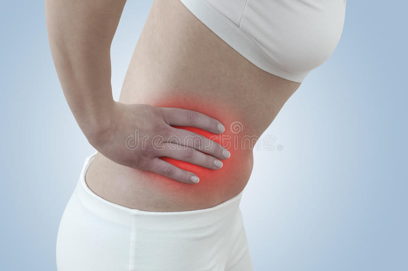 Acute pain in a woman kidney stock image