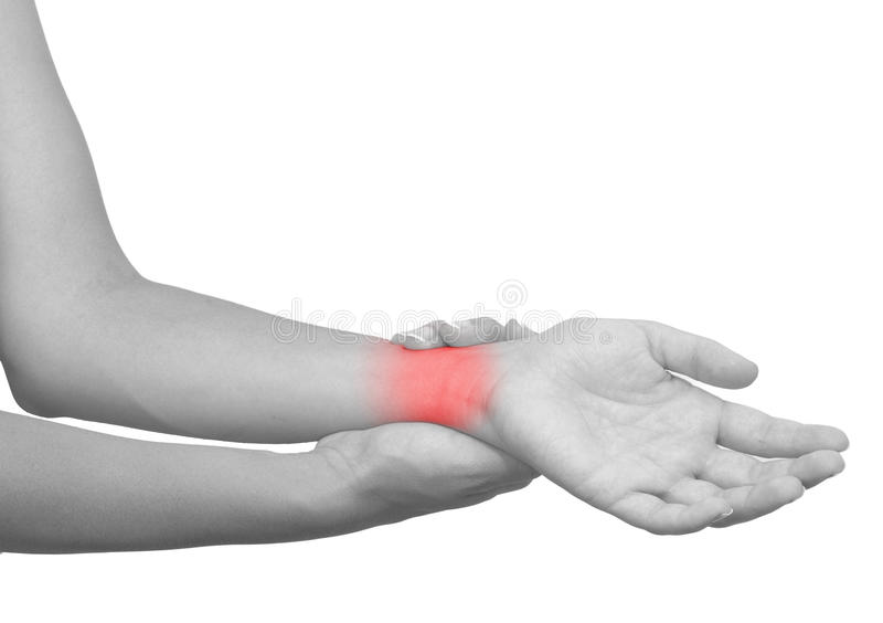 Acute pain in a woman wrist stock images