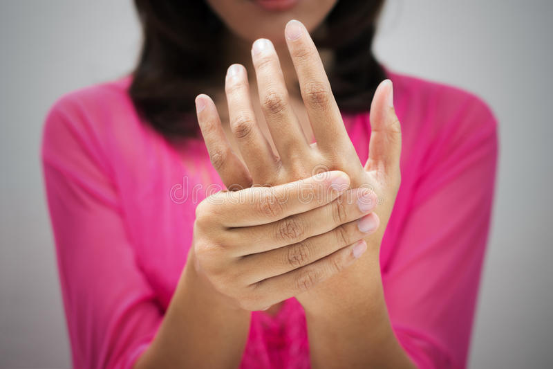 Acute pain in a women wrist. Acute pain, Acute pain in a women wrist royalty free stock photography
