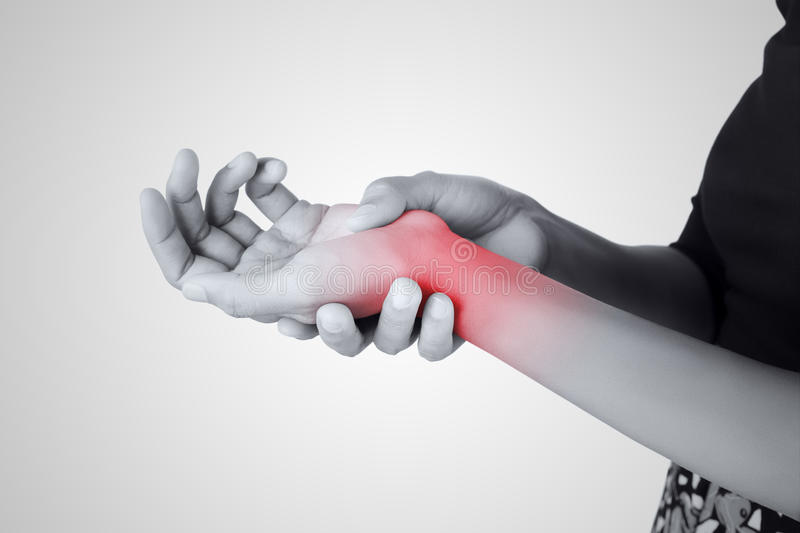 Acute pain in a women wrist. De-Quervain's tenosynovitis, Intersection Symptom, Carpal Tunnel Syndrome stock images