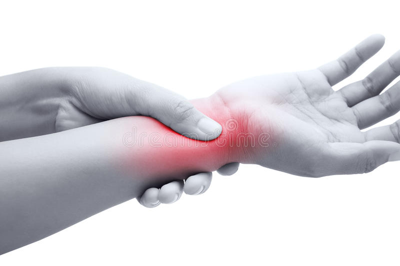 Acute pain in a women wrist. De-Quervain's tenosynovitis, Intersection Symptom, Carpal Tunnel Syndrome royalty free stock images