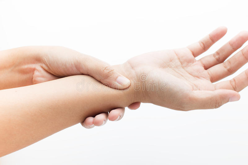Acute pain in a women wrist. On white background stock photo
