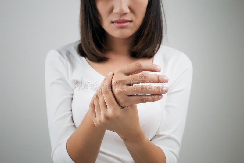 Acute pain in a women wrist. Acute pain in a woman wrist on white background stock images